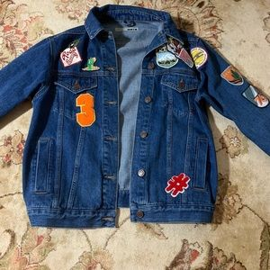 TopShop Moto Medium-Dark Wash Denim Jacket